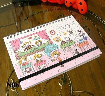Sweet Simple Pink Children Cartoon Any Year Planner Diary