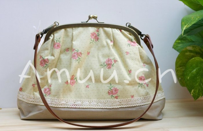 Sweet Zakka Style Big Pastel Yellow And Flowers Cotton Lace Trim Shoulder Bag