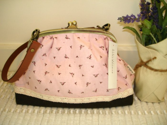 Sweet Zakka Style Big Light Rose Pink With Flowers And  Lace Trim Shoulder Bag