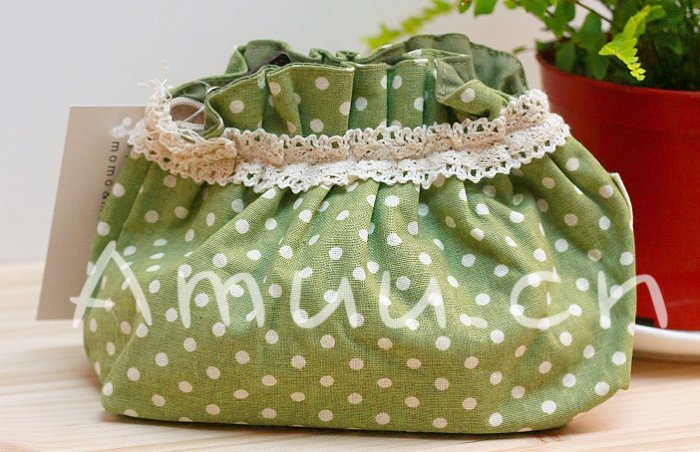 Sweet Zakka Style Sweet Green With White Polka Dots Pattern Lace Cotton Pouch Small Bag
