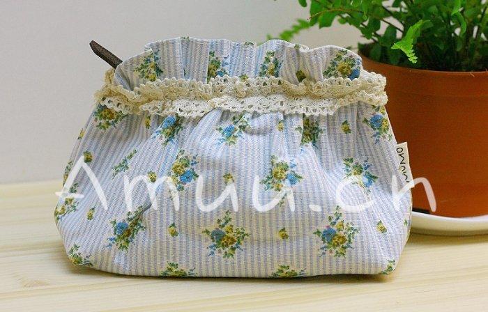 Sweet Zakka Style Light Blue Strips Blue Yellow Flowers Pattern Lace Cotton Pouch Small Bag