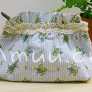 Sweet Zakka Style Light Blue Strips Blue Yellow Flowers Pattern Lace Cotton Pouch Small Bag