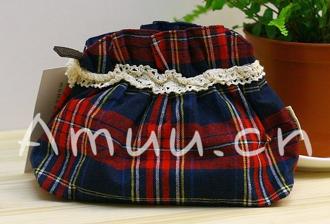 Sweet Zakka Style Preppy Blue Red And White Checks Plaids Pattern Lace Cotton Pouch Small Bag
