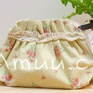 Sweet Zakka Style Pastel Yellow Grey Mini Polka Dots Roses Pattern Lace Cotton Pouch Small Bag