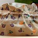 Sweet Zakka Style Dark Beige Retro Orange Purple Flowers Pattern Lace Cotton Pouch Small Bag