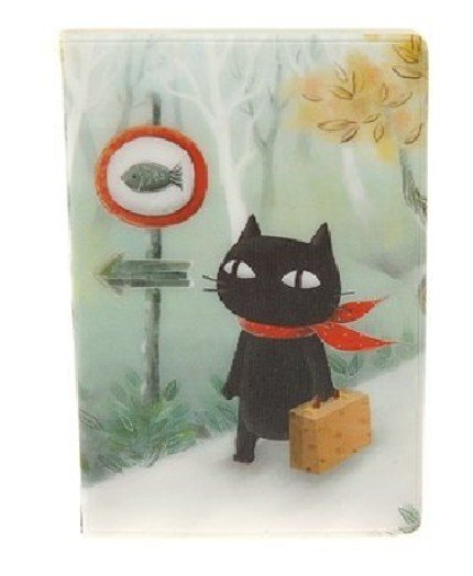 Cute Black Cat Going Fishing Cartoon Name Credit Card Case Holder