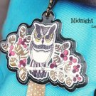 Quaint Retro Owl On A Tree Branch Design Luggage Bag Name Tag Charm