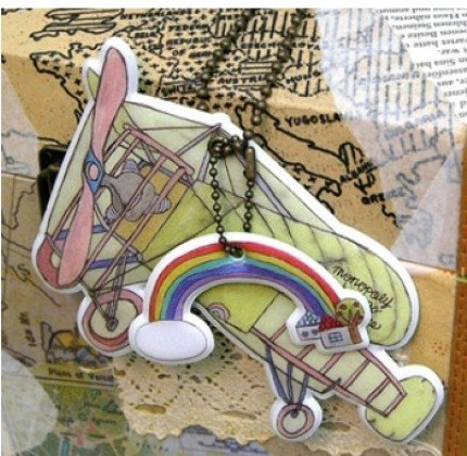 Fun Colorful Aeroplane And Rainbow Clouds Design Luggage Bag Name Tag Charm