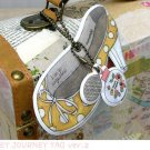 Very Pretty Yellow Polka Dots High Heel Shoes Perfume Bottle Luggage Bag Name Tag Charm