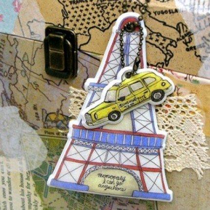 Quaint Retro Paris Tour Eiffel Tower And Taxi Cab Design Luggage Bag Name Tag Charm