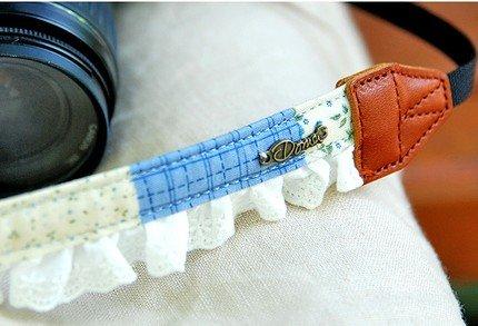 Wonderful Zakka Style Doma Blue Flowers Checks And White Lace Camera Strap