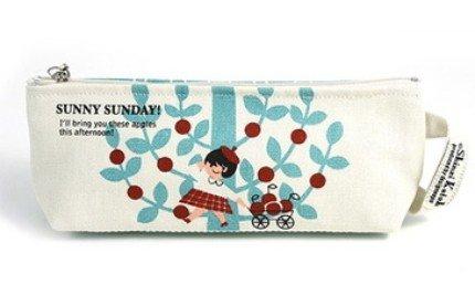 Sweetest Shinzi Katoh Sunny Sunday Girl and Apple Tree Design Fabric Pencil Case