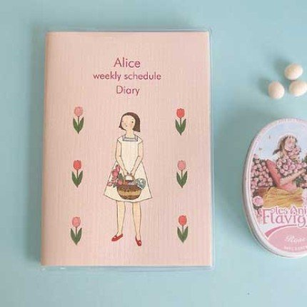Sweetest Alice And Pink Tulips Theme Any Year SMALL Planner Diary Journal