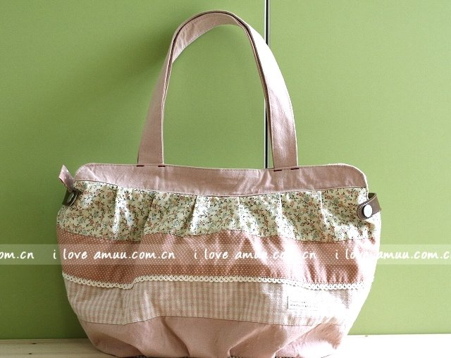 Sweetest Zakka Japanese Rustic Pastel Pink Flowers Checks Cotton Tote Shoulder Bag