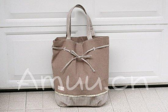 Sweetest Zakka Japanese Rustic Brown Grey Checks Cotton Tote Shoulder Bag