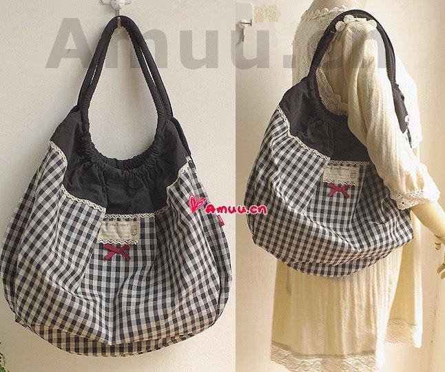 Pretty Zakka Japanese Black And White Checks Nylon Cotton Tote Shoulder Bag
