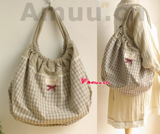Pretty Zakka Japanese Khaki Gray Grey And White Checks Nylon Cotton Tote Shoulder Bag