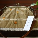 Sweet Zakka Style Big Rustic Brown With Red Orange Flowers Lace Trim Shoulder Bag