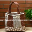 Sweet Brown Grey Plaids Floral Cotton Tote Bag And Purse