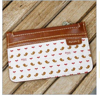 Lovely Brown Leather Linen Bird Purse Card Holder Keychain
