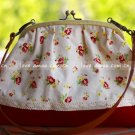 Sweet Zakka Style Big Red Flowers Lace Trim Shoulder Bag