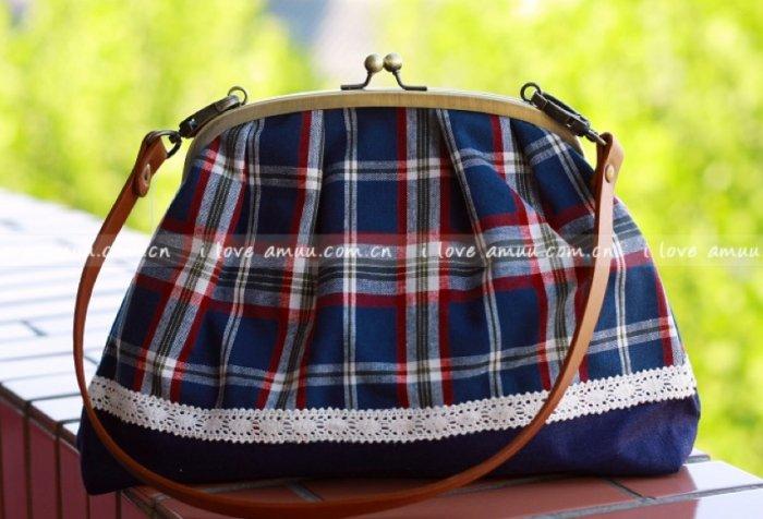 Sweet Zakka Style Big Blue Red Checks Lace Trim Shoulder Bag
