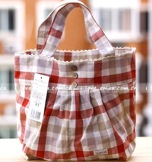 Lovely Zakka Beige Red Checks Cotton Tote Bag KEEP WARM Lunch Bag