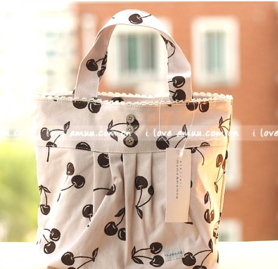 Lovely Zakka Cream Brown Cherry Fruits Cotton Tote Bag KEEP WARM Lunch Bag