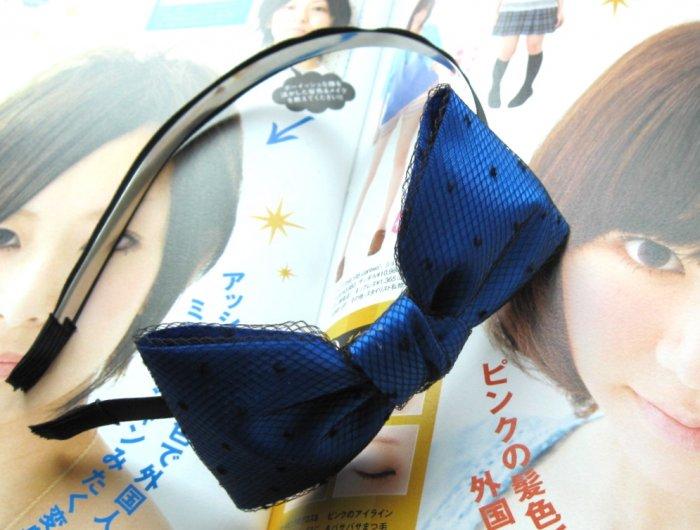 Blue Satin Like Lace Ribbon Bow Hairband Headband