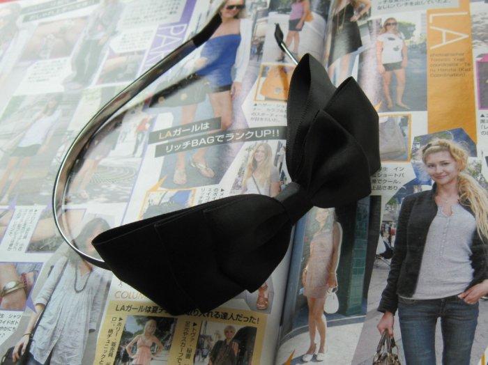 Black Triple Ribbon Bow Hairband Headband