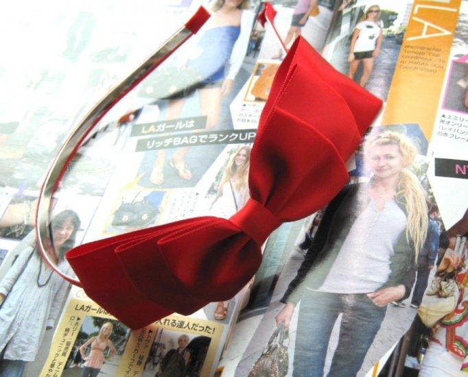 Red Triple Ribbon Bow Hairband Headband