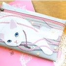 Lovely Jetoy White Cat Pink Pearl Make Up Case Big Purse