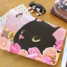Cute Jetoy Black Cat Pink Roses Multi Purpose Big Bank Passport Holder Case