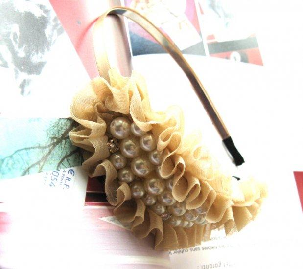 Creamy Beige Bridal Prom Chiffon Like Pearl Bow Hairband Headband
