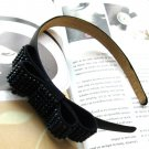 Lovely Navy Blue Bridal Prom Rhinestones Ribbon Bow Hairband Headband