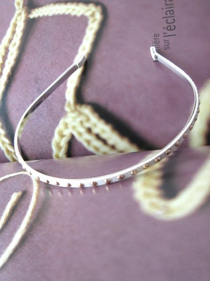 Cream White Thin Faux Suede Studs Hairband Headband