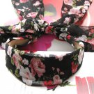 Lovely Black Pink Flowers Long Tail Hairband Headband