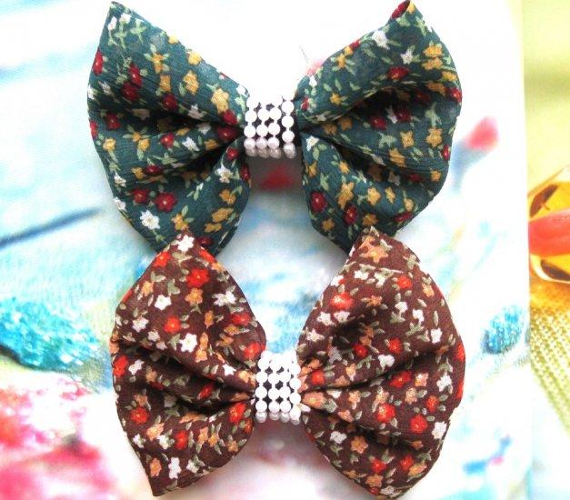 Zakka Brown And Green Small Flowers Ribbon Hair Clip Hairclip