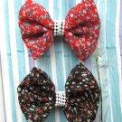 Zakka Black And Red Small Flowers Ribbon Hair Clip Hairclip