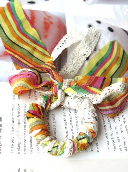 Zakka Colorful Stripes Lace Ponytail Holder