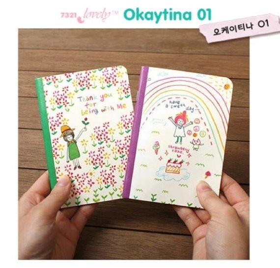 Kawaii Children Animal Pet Star Rainbow SMALL Notebook Journal 2 Design In A Set
