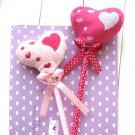 Kawaii Lolita Pink Hearts Love Polka Dots Ribbon LONG Puffy Ballpoint Pen