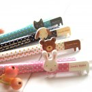 Kawaii Cat Rabbit Bear Dog Polka Dots Animal Colorful Ballpoint Pens 4's