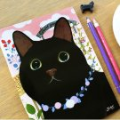 Jetoy Black Cat Rose Garden Line Slim Notebook Journal - Gamy