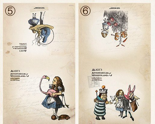 Alice In Wonderland Small Postcard Greeting Card 2 Cards Design 05 / 06
