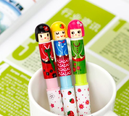 Kawaii Colorful Sakura Japanese Doll Girl Ballpoint Pens 3 In A Set