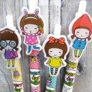 Kawaii School Girl Cartoon Colorful Ballpoint Ink Pens 4's