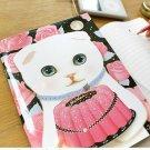 Jetoy White Cat Rose Cake Line Slim Notebook Journal - Sha Sha