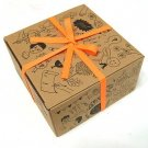 Retro Animal Flower Bird Brown Cardboard Gift Box