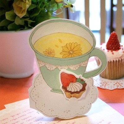 Sweet Cup Tea Cupcake Food Card Letterset Letter Set